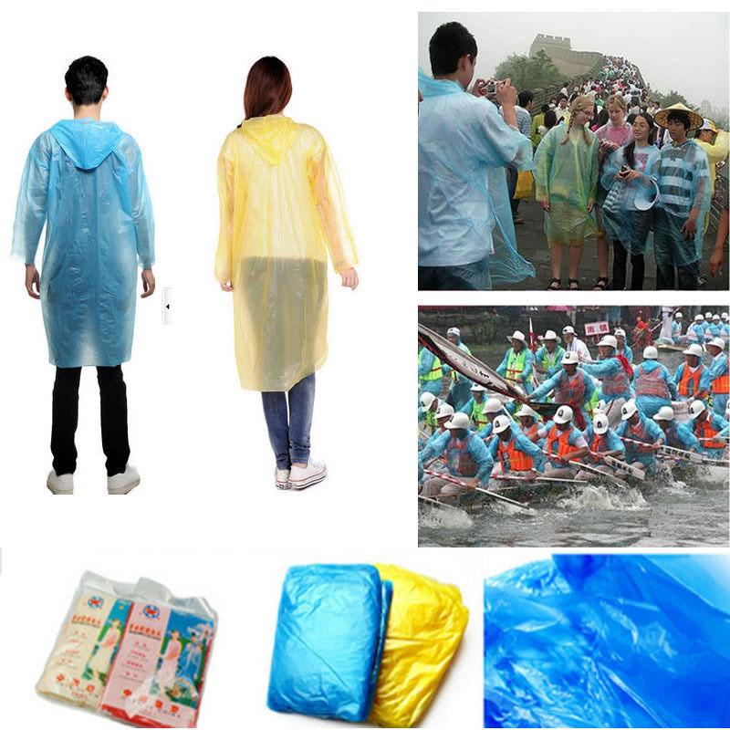 10 pcs Descartável Portátil Capa De Chuva Leve Para Adultos Mulheres Homens Capuz Casaco de Chuva Poncho de Emergência À Prova D' Água Caminhadas Viagem de Acampamento