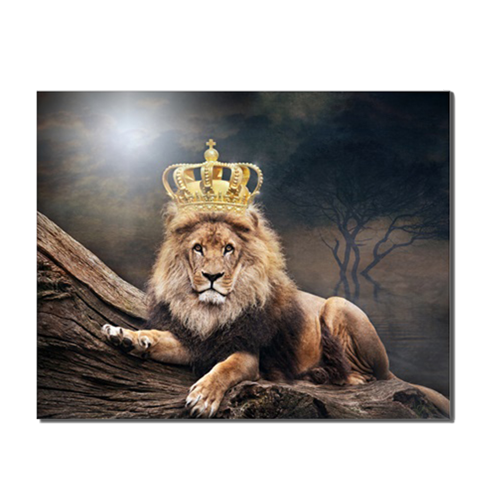 Laeacco Canvas Calligraphy Painting Nordic Lion King of Animal Posters and Prints Wall Art Pictures for Living Room Home Decor in Painting Calligraphy from Home Garden