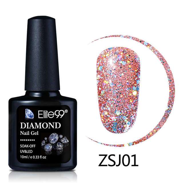 Elite99 10ml Diamant Farbe Nagel Gel UV LED Gel Polish Bling Glitter Pailletten Tränken Weg Basis Top Primer Nagel kunst Gel Polish Lack