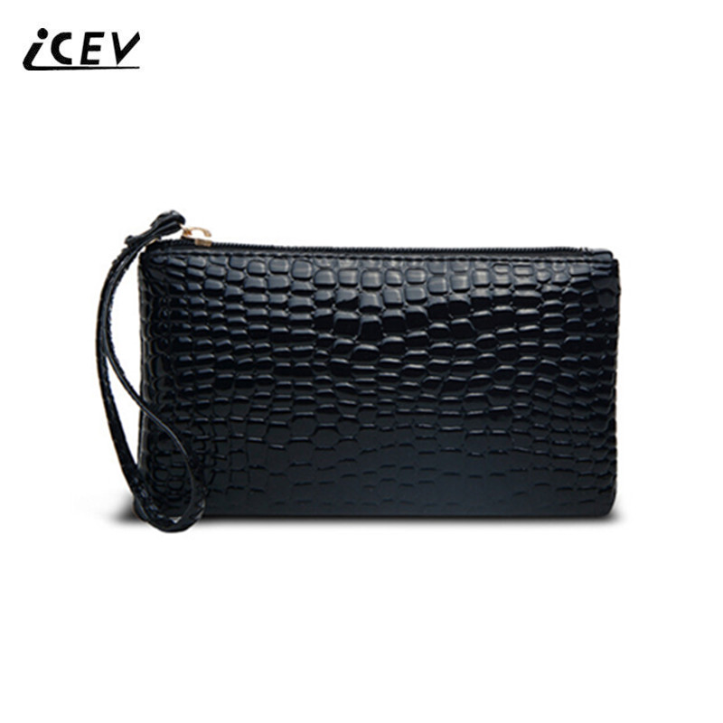 ICEV New Fashion Wristlets Women Phone Bags Ladies Day Clutch Crocodile Pattern Girl Clutch Hand Bags Bolsa Feminina Sac A Main candy color pu leather women bag day clutches patchwork handbag bolsa feminina new design ladies wristlets bags