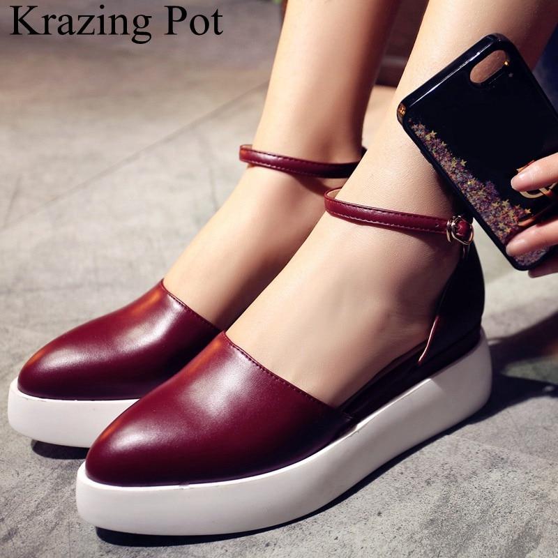 2019 superstar fashion buckle strap shallow pointed toe high heels women pumps platform casual sweet elegant