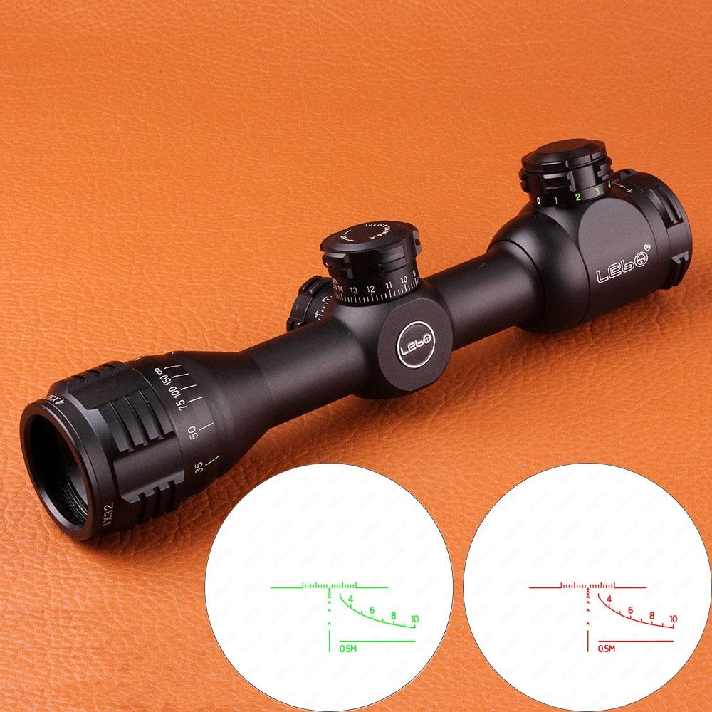 LEBO 4X32AOME Tactical Compact Alzi a Cannocchiale da puntamento Vetro Acidato Reticolo Rosso Verde Illuminato Caccia Cannocchiale