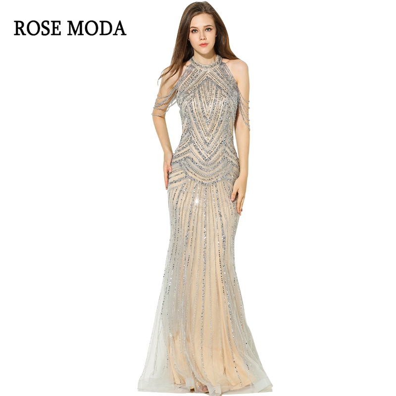 Rose Moda Sexy Mermaid   Prom     Dress   Long   Prom     Dresses   2018 with Beadings