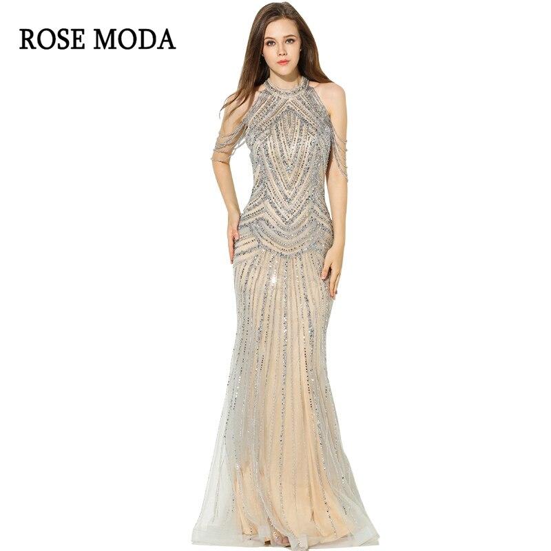 Rose Moda Sexy sirène robe de bal longues robes de bal 2018 avec perles