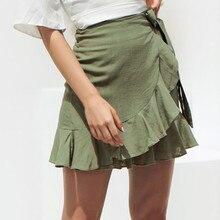 Дешевые сексуальные юбки модные женские одноцветные с оборками повязки на шнуровке короткая юбка трапециевидной формы плиссированные saia feminina Прямая поставка