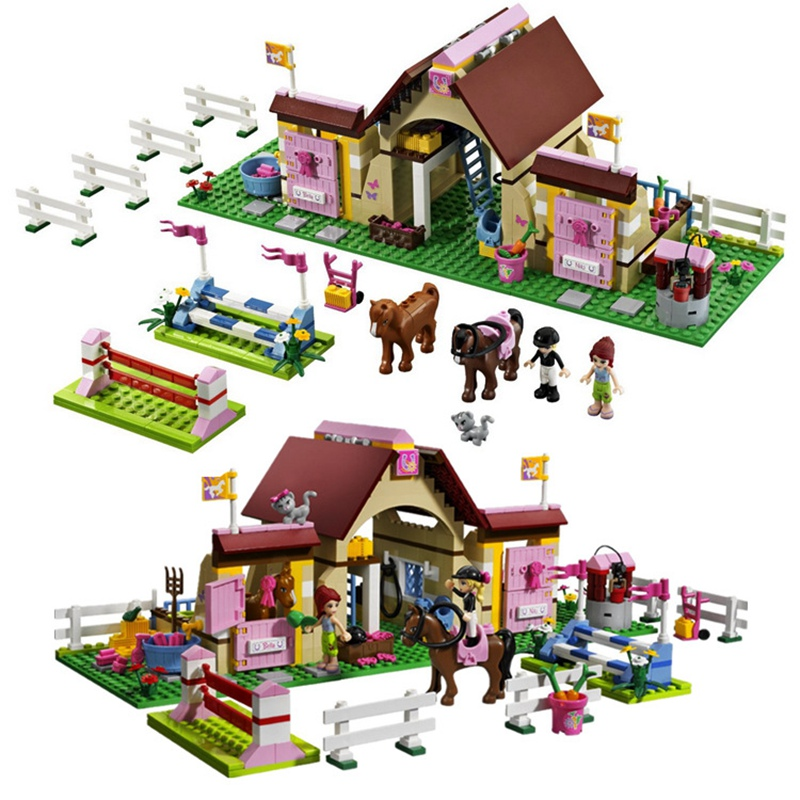 With Compatible GSBAN Friends Heartlake Stables Mia's Farm Horse Building Blocks Enlighten Bela Toys For Children Gifts 10163