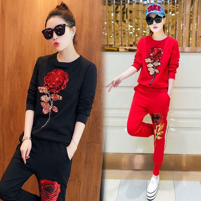 Быстрая доставка Горячей продажи новая коллекция весна leisure suit женский розы женский костюм 2 шт. набор женщин цветы Блесток костюмы