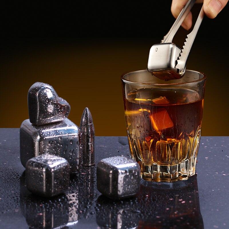 304 Stainless Steel Whisky Ice Cubes Reusable Stones Whiskey Ice Cube bucket Vodka Wine beer Cooler Bar KTV Holder chiller Tool