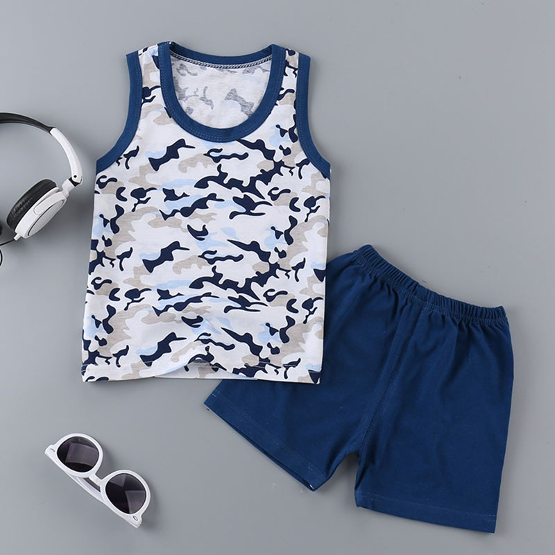 Summer Baby Boys Clothing Sets Sleeveless T-shirt + Shorts Kids Boy Clothes Set Toddler Girls Clothing Set Cotton Vest 3pcs newborn baby girls bowknot clothes 2018 summer striped toddler kids clothing set t shirt shorts headband bebek giyim