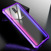 Luxury Hard Clear Transparent Tempered Glass Case For OPPO R17Pro case Metal Aluminum Frame Bumper R17 Cover Coque
