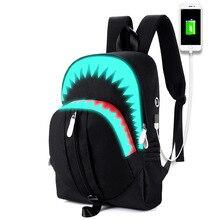 Для мужчин рюкзак для ноутбука USB зарядка ночного освещения модная сумка Акула мешок, рюкзак на грудь для подростков школьная сумка Mochila Дорожная сумка BB148