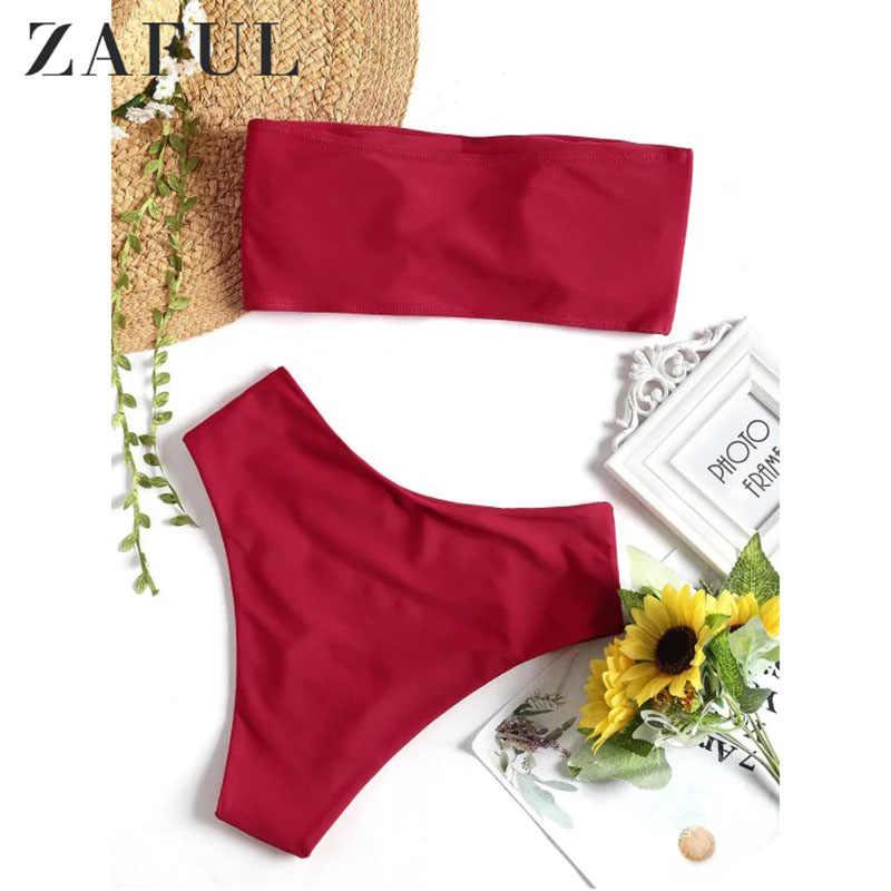 ZAFUL Pita Pengikat Rambut Potong Tinggi Bikini Set Wanita Pinggang Tinggi Pakaian Renang Dua Sepotong Light Salmon Hijau Mint Baju Renang Empuk Baju Mandi Biquni