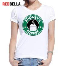 REDBELLA 2017 Women Clothing New Arrival Short Sleeve Rick And Morty Hot Coffee Green TV Show Circular Pattern T-shirt Printed