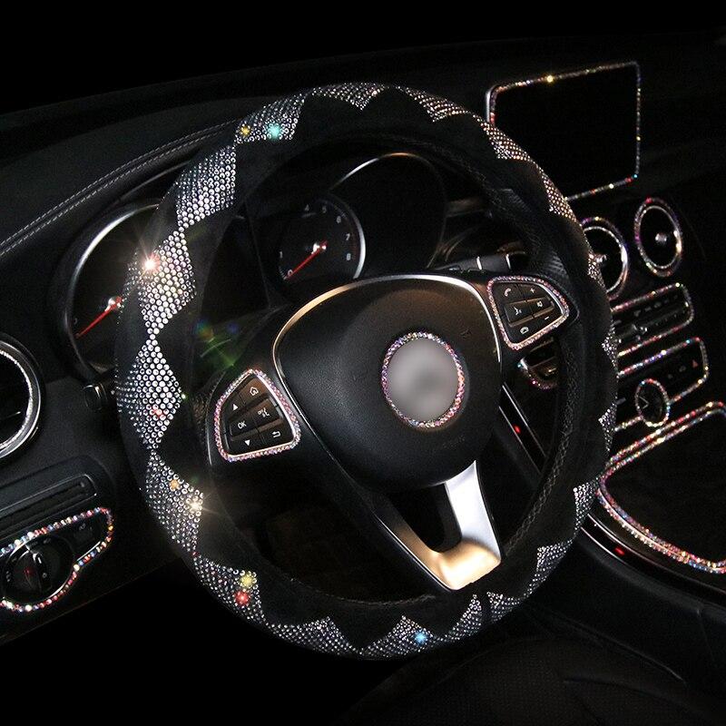 Luxury Crystal Colorful Rhinestone Car Steering Wheel Covers Diamante Rhinestone Car Covered Steering-Wheel Plush Accessories