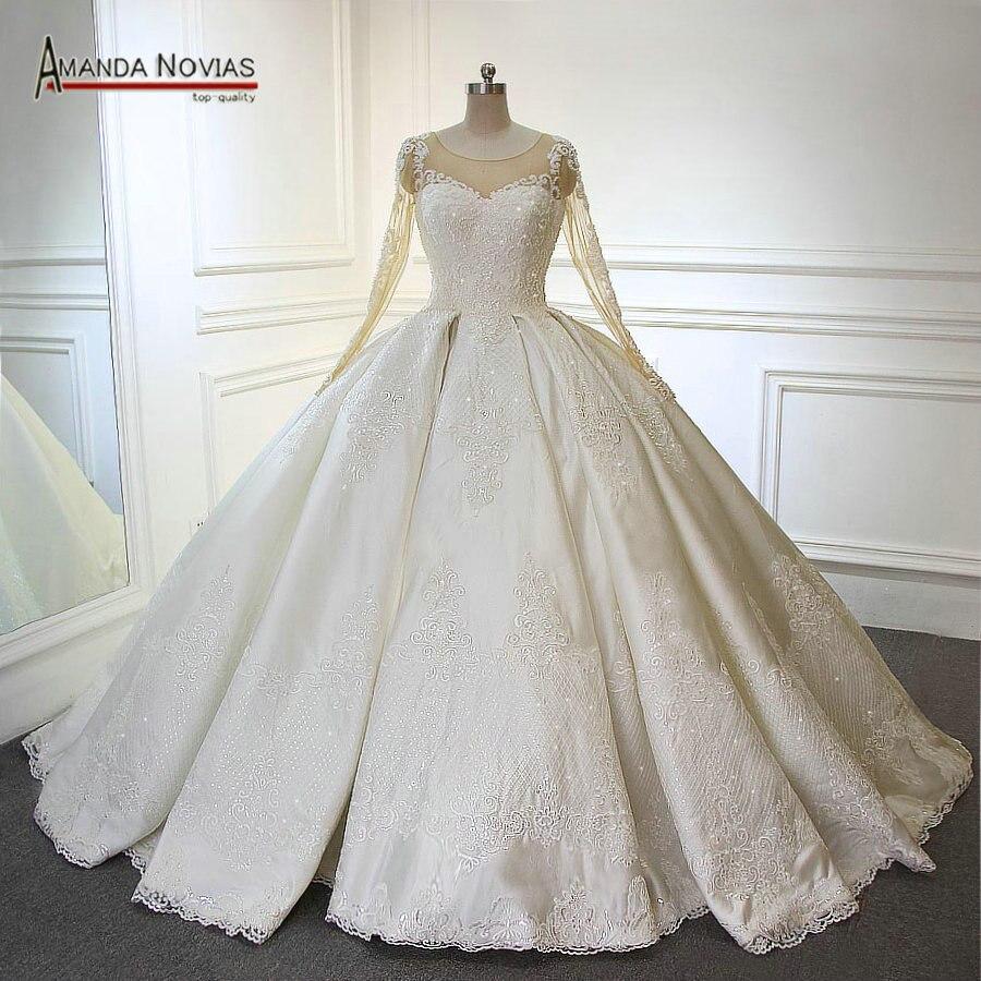 Luxury Long Train Ball Gown Pleated Wedding Dress Arabic 2019