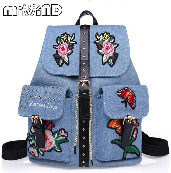 Miwind F Fashion new quality flowers embroidery backpack women s new belt buckle denim fabric travel