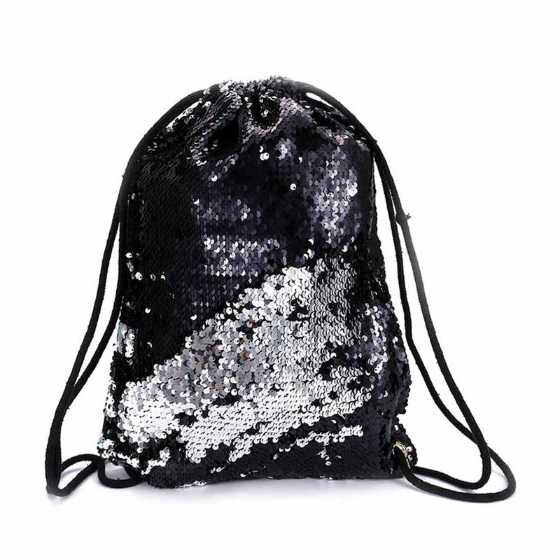 Detail Feedback Questions about Fashion Mermaid Sequins Drawstring Backpack  Women Glitter Bling Shoulder Bags Reversible Beach Bag Girls Travel Casual  ...
