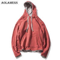 Aolamegs Hoodies Men Solid Fake Two Pieces Hooded Pullover High Street Fashion Retro Hip Hop Streetwear