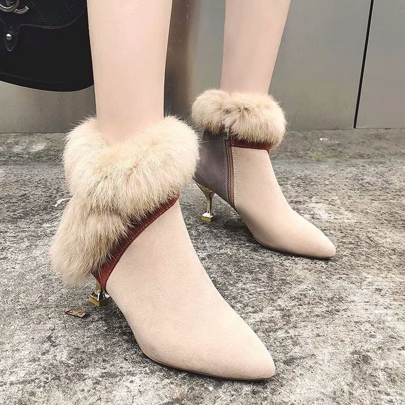 faux fur decoration ankle boots women gold high heeled plush winter booties mixed color suede leather peluche botas mujer s456 34