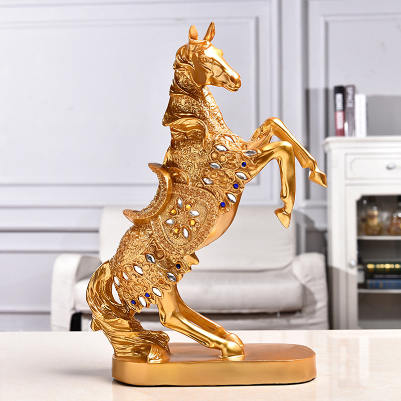 2019 New Retro Diamond Gold/Silver War Horse Statue Creative Resin Desktop Sculpture Crafts Ornament Home Decoration Accessorie2019 New Retro Diamond Gold/Silver War Horse Statue Creative Resin Desktop Sculpture Crafts Ornament Home Decoration Accessorie