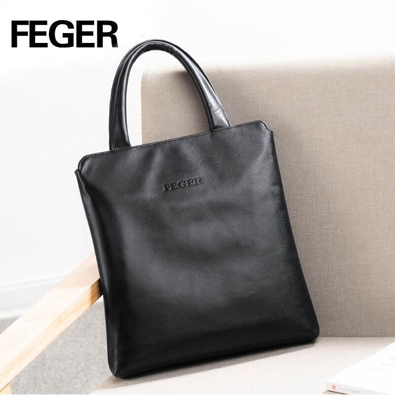 FEGER Man Vertical Genuine Leather bag Men Messenger Business Men's Briefcase Designer Handbags High Quality Shoulder Bags все цены