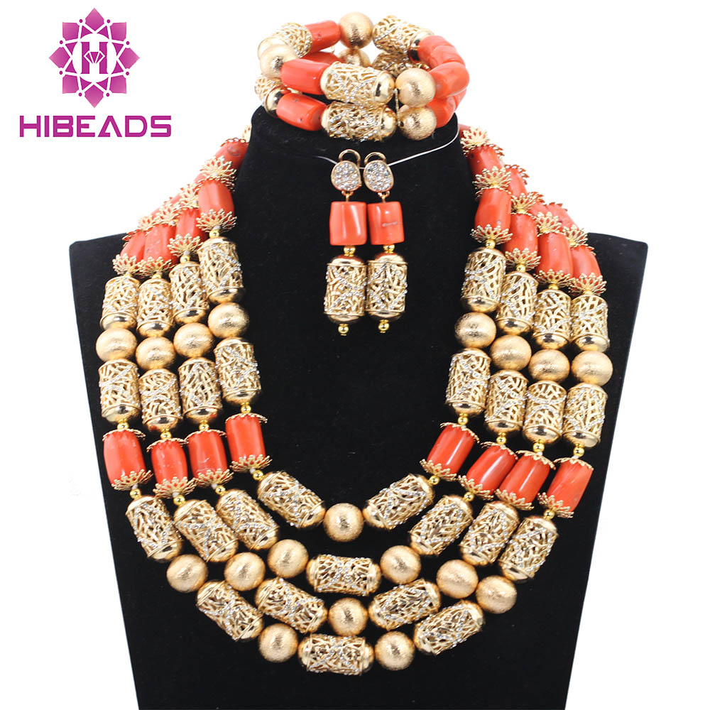 Big Nigerian Wedding African Beads Jewelry Sets Coral Fashion Dubai New Jewelry Sets For Women Free Shipping CNR749 new sky blue fashion natural stone fashionable african beads jewelry sets jewelry for women free shipping jb123