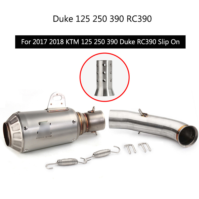 For 2017 2018 KTM 125 250 390 Duke Exhaust Pipe Motorcycle Exhaust Mid Pipe Slip On 51 mm Muffler Removable Db Killer Escape image