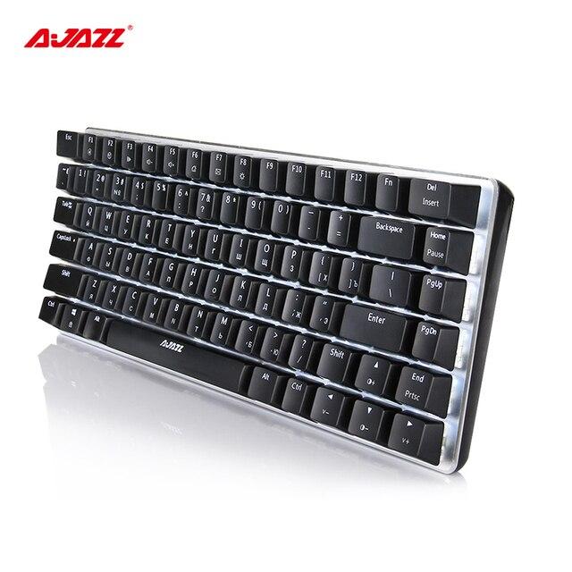 Ajazz ak33 82 ключей русские механическая клавиатура Проводная клавиатура белой подсветкой синий переключатель Алюминий + ABS Материал