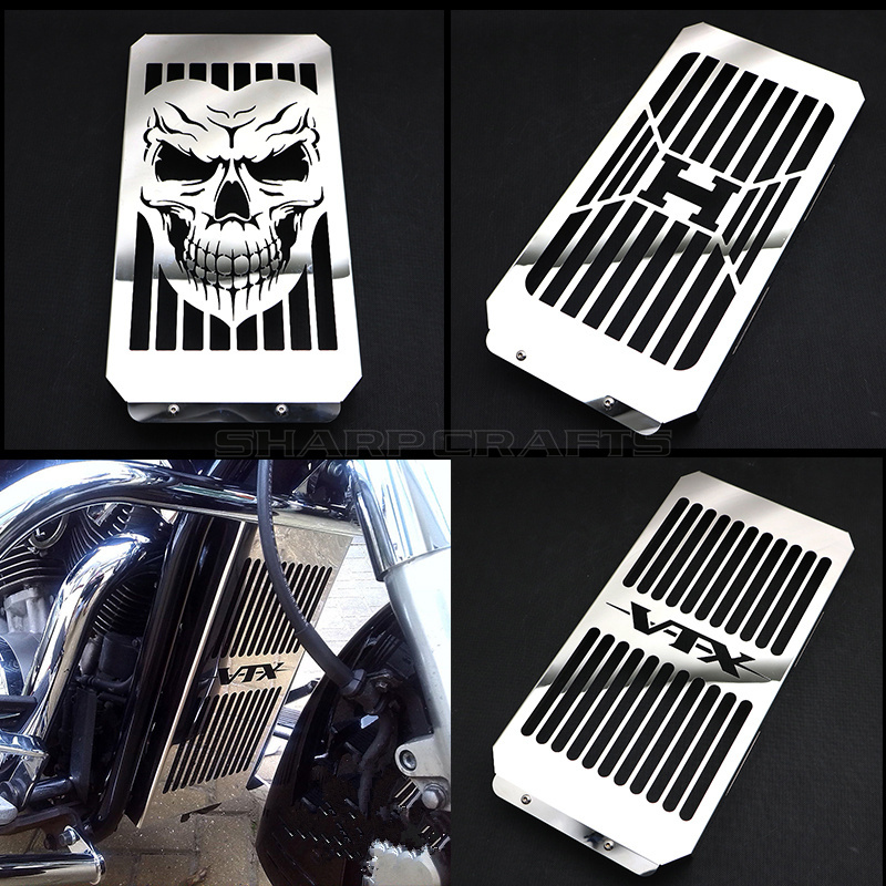 Top Quality Motorcycle Chrome Skull Radiator Grill Cover Guard Protector For Honda VTX1800 VTX 1800 C