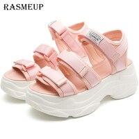 RASMEUP Pink Platform Women's Sandals 2019 Fashion Summer Comfortable Women Chunky Beach Sandal thick sole Casual Woman Shoes