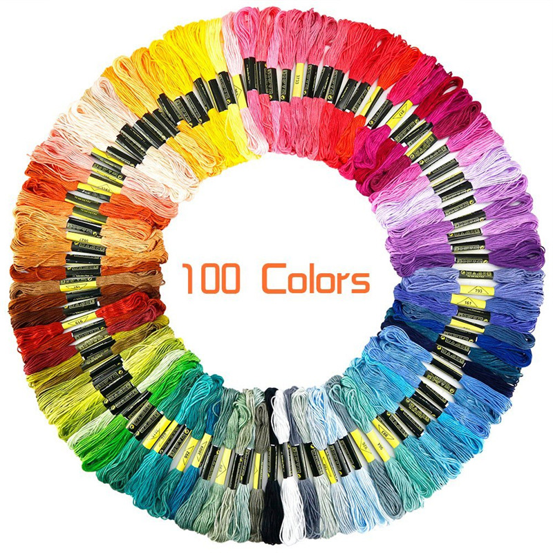 100 Skeins Rainbow Colors Cross Stitch Thread Cotton Embroidery Floss Sewing Craft Friendship Bracelets DIY