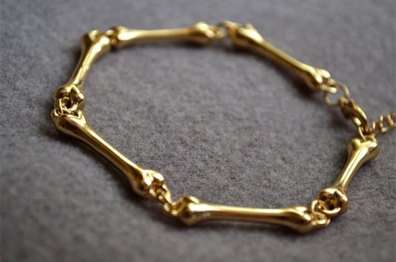 Hot! golden Skeleton Skull Hand Bone Halloween Bracelet Bangle Women Party Rock Fine Jewelry Goth Punk Style Design Statement