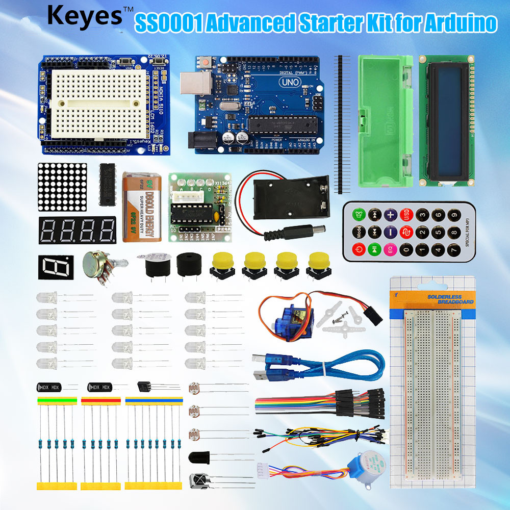 UNO R3 Project Complete Starter Kit for Arduino UNO R3 Board LCD 1602 Breadboard Wire kt001 arduino uno r3 starter kit