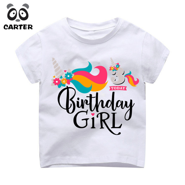 Happy Birthday Girl Unicorn Kawaii Cartoon Design T Shirt Children Kid Present Camisetas Top Baby