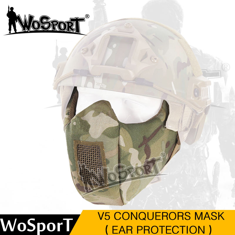 WoSporT New Tactical Paintball Mask Metal Steel Net Half Lower Face Hunting Protective Prop For Paintball Military Amry Party CS