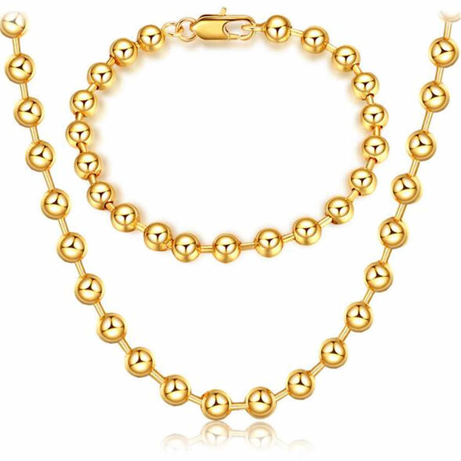 2018 New two-piece jewelry free shipping simple natural 6MM bead bracelet necklace Gold 18 K female holiday gift jewelry
