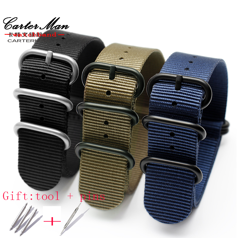 18mm 20mm 22mm 24mm 26mm High quality watch strap fit Zulu nylon watchband for nato nylon with PVD stainless steel rings strap юбка женская neurotica pleated blue
