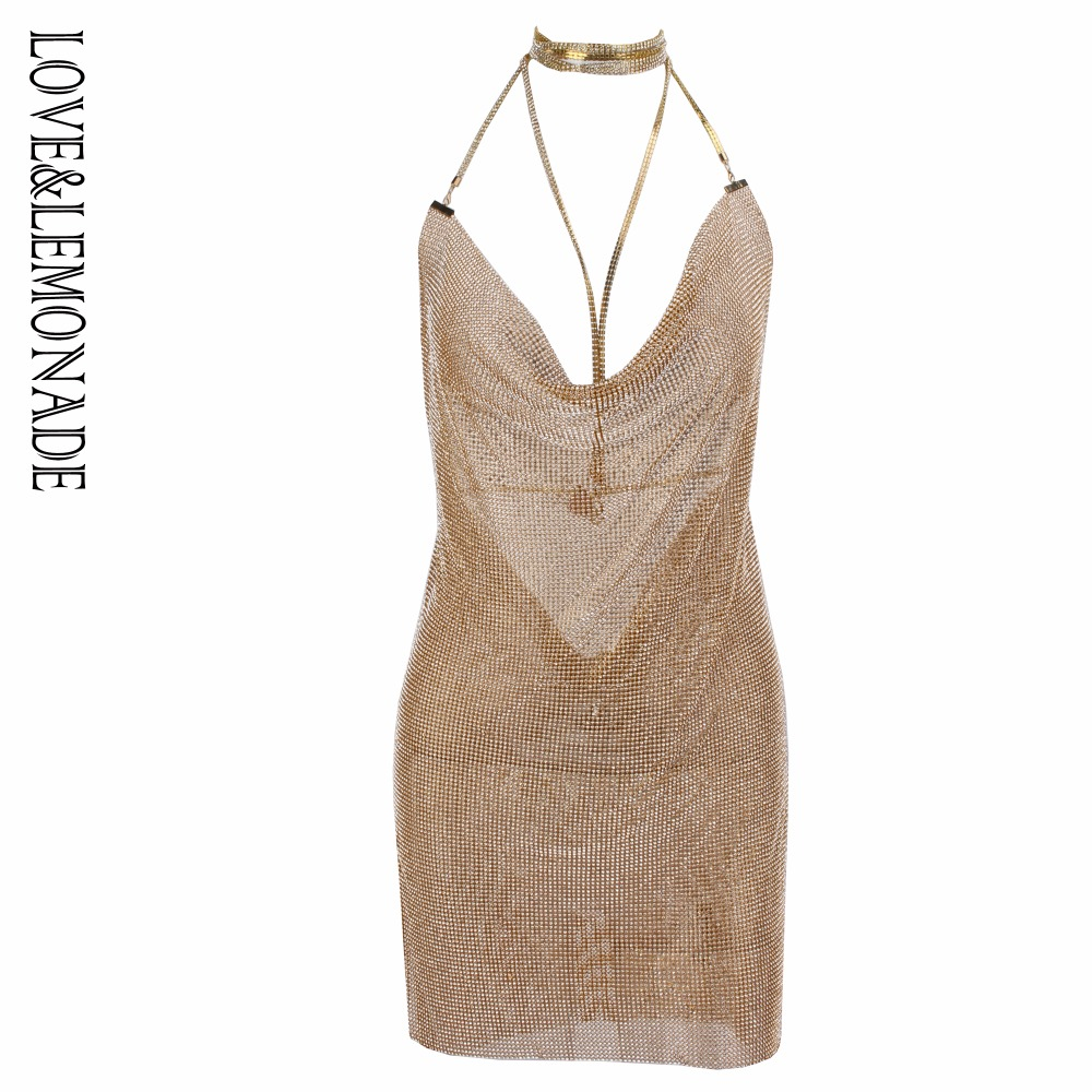 f32e6f45e9 Love Lemonade Gold Rhinestone Iron Plate Open Back V-Neck Party Dress LM0636