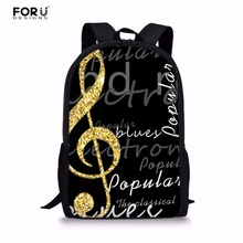 FORUDESIGNS Mens Backpacks 3D Music Note Pattern School Backpack Men Large Laptop Kidss Bolsa Bagpack for Student Bag