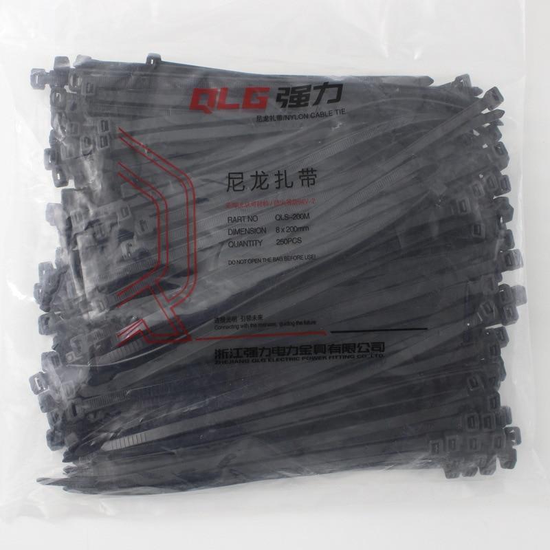250Pcs/pack 8*200mm high quality width 5.2mm Black Color Factory Standard Self-locking Plastic Nylon Cable Ties,Wire Zip Tie surplice neckline self tie cami jumpsuit