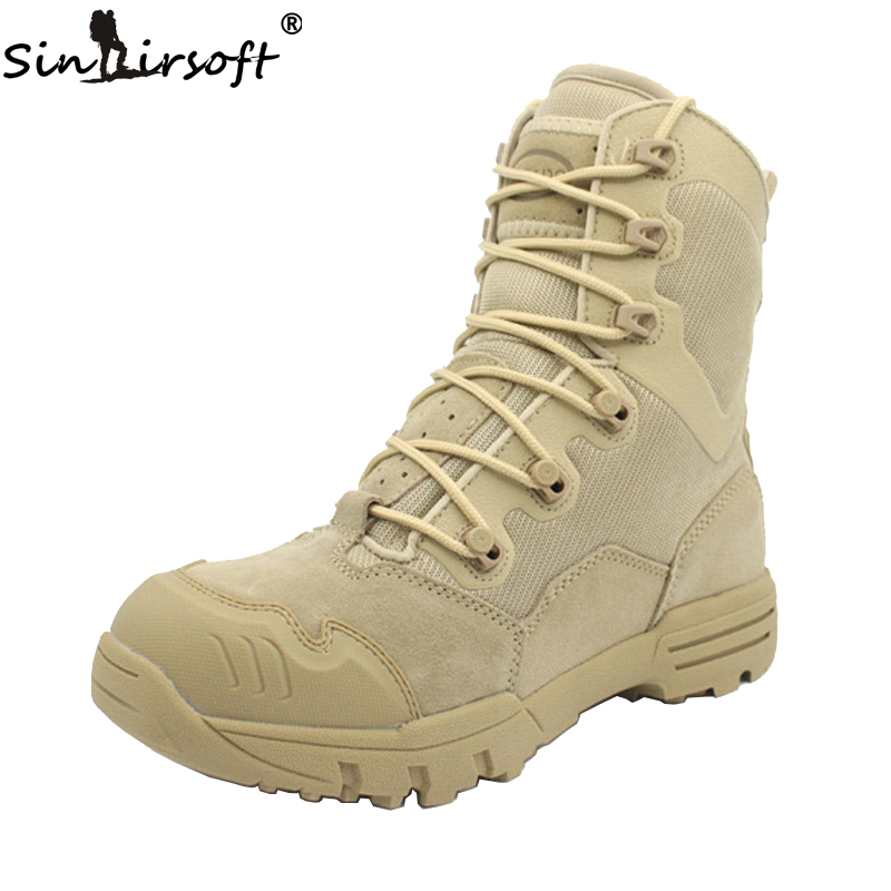 ФОТО SINAIRSOFT Outdoor Genuine Leather U.S. Military Assault Tactical Boots Breathable  Anti-Slip Men Fishing Travel Hiking Shoes