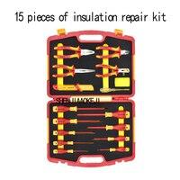 15 шт/набор изоляции ремонт комплект электрик специальной изоляции инструменты изоляции 1000 В Ремкомплект Портативный безопасности Аппарат