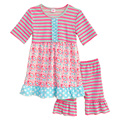 Retail Children Summer Casual Clothing Sets Short Sleeve Swing Top Stripes Ruffle Short Kids Spring Outfits For Girls S065
