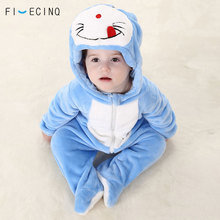 Cartoon Doraemon Onesie Infant Anime Cosplay Costume Blue Cat Kigurumi Pajama Baby Bodysuit Flannel Warm Soft Winter Suit