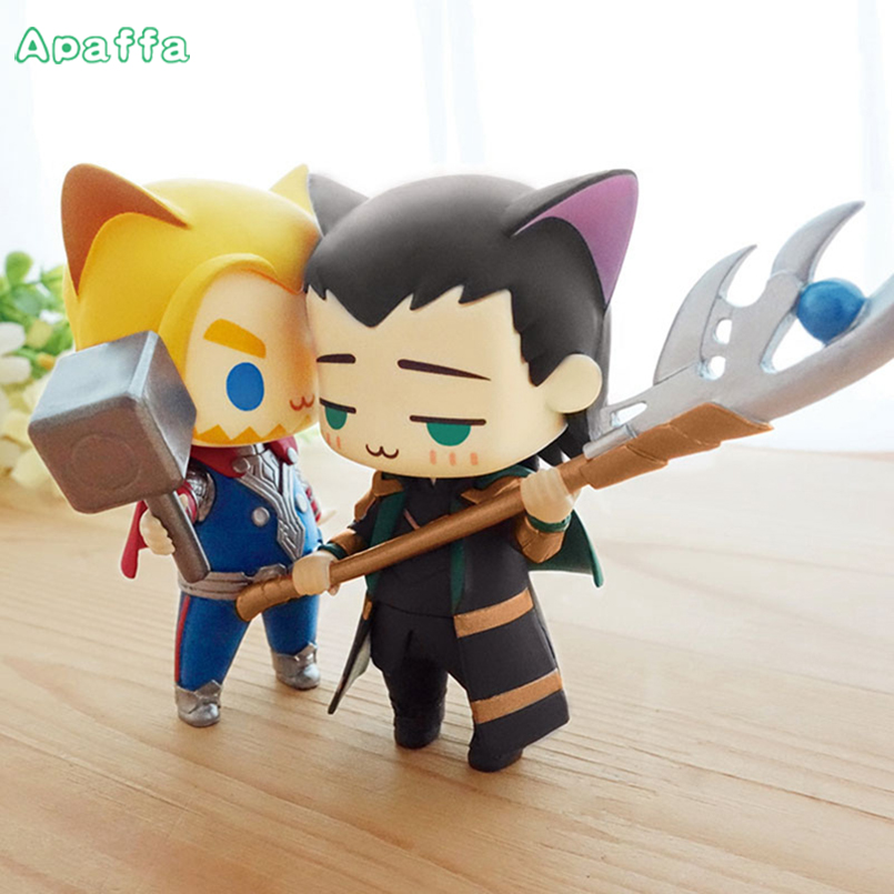 8cm Very Cute The Avengers Alliance Thor Loki Cat Q Version Chibi Cute Action Figure Super Hero Model PVC Dolls Children Toys
