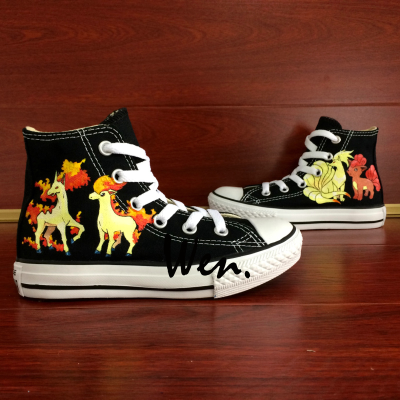 ФОТО Wen Hand Painted Shoes Design Custom Pokemon Pocket Monster Ninetales Rapidash Ponyta Vulpix High Top Boys Girls Canvas Sneakers