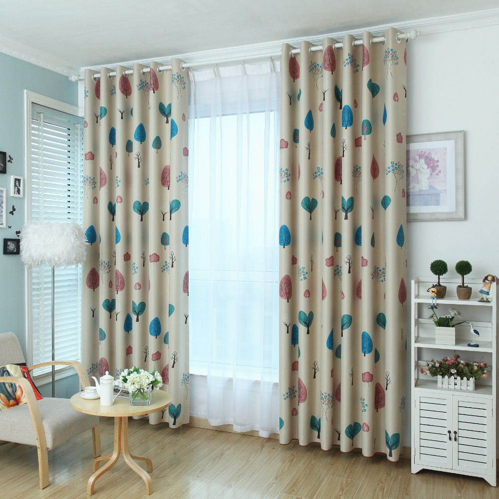 Children Window Curtain Cartoon Print Shading Curtain Fabric Blackout Kids Curtains For Bedroom Living Room Rideau Enfant