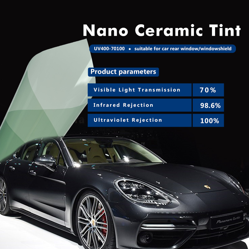 50x500cm Green High Heat-Rejection Nano Ceramic Car Window Film 70% VLT 100% UV Nano Ceramic Auto Tint Film Anti Block Vinyl wire