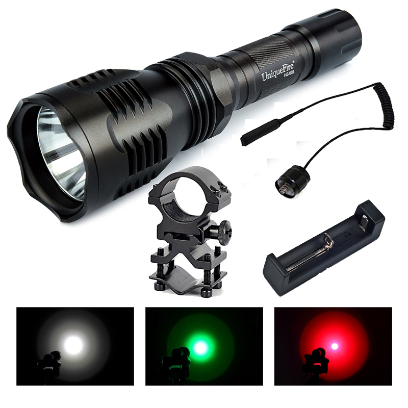 UniqueFire HS-802 CREE XRE White/Green/Red Light Hunting Led Flashlight Kit Set+ Rat Tail switch+ Scope Mount+ Charger цена