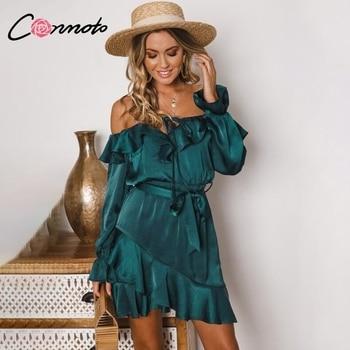 Conmoto Ruffles Lace Up Off Vai Phụ Nữ Ăn Mặc Bow Dài Tay Áo Thanh Lịch Cổ Điển Ăn Mặc Bow Xanh Đảng Ngắn Satin Dress vestidos